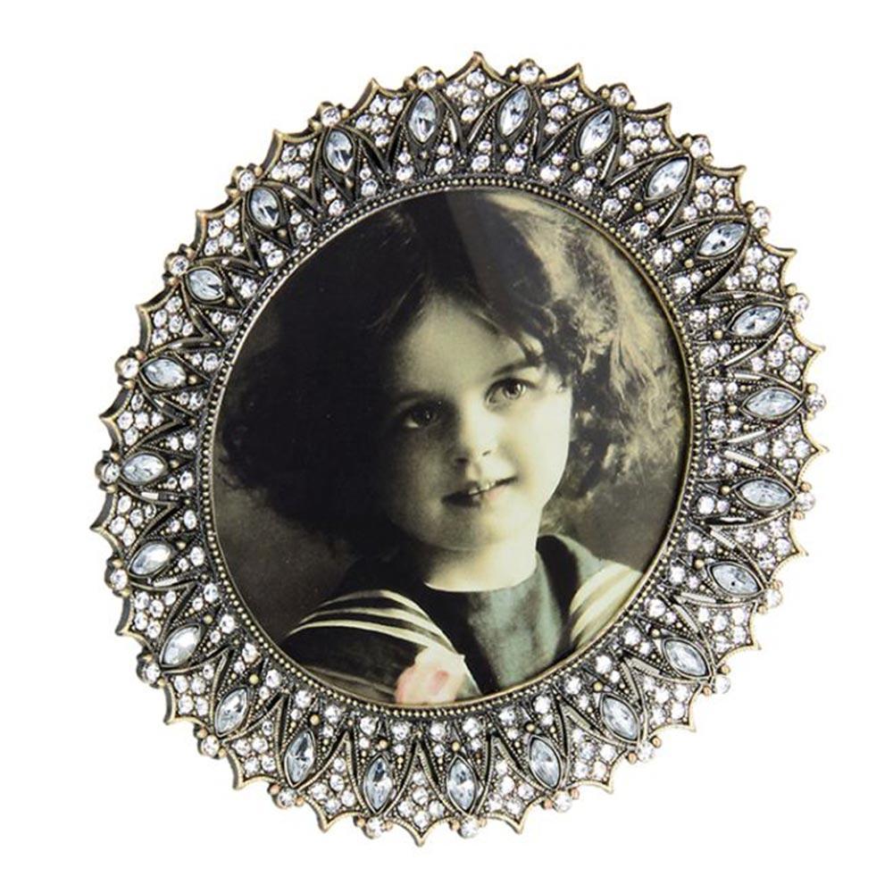 Porta-Retrato Provençal Rendondo Prata em Metal - 15x15 cm