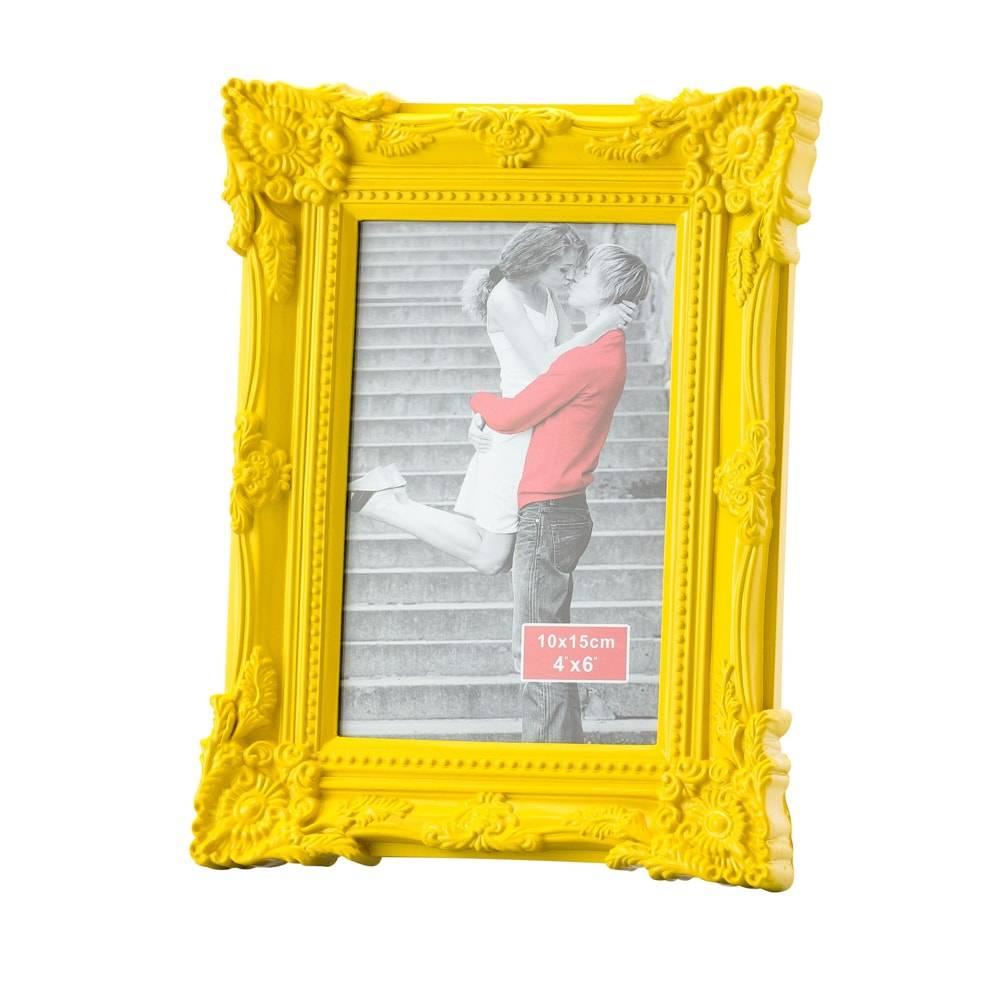 Porta-Retrato Retrô Amarelo Foto 10x15 cm - Lyor Classic - 21x16 cm
