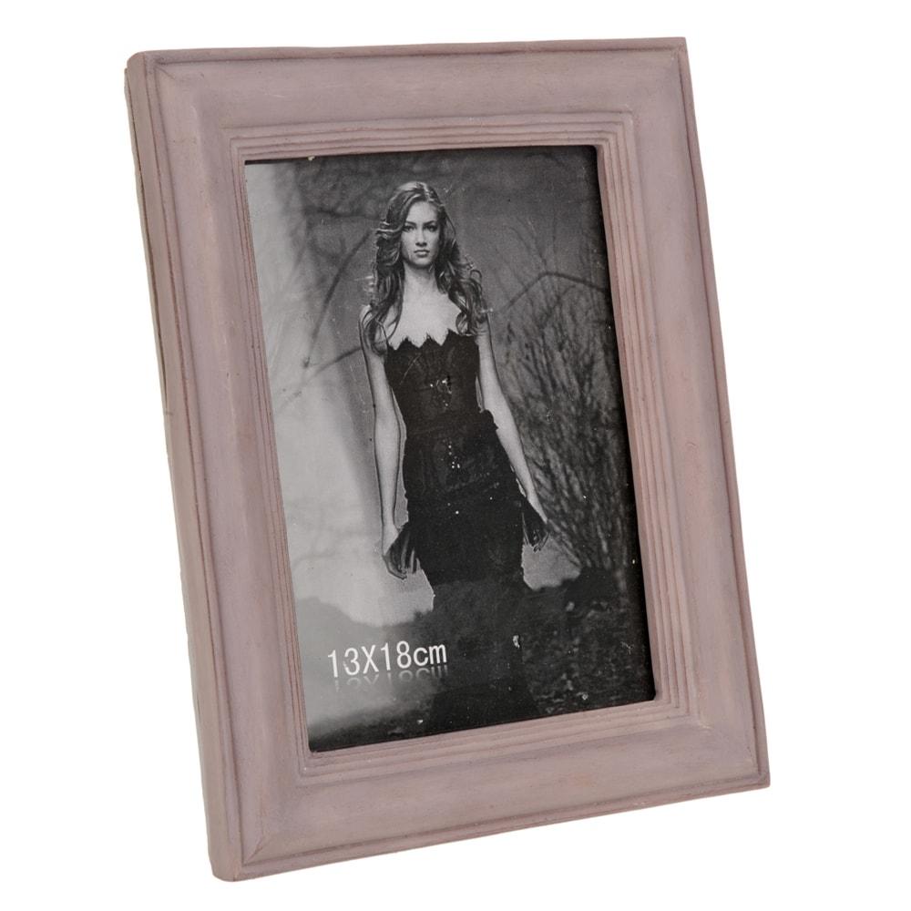Porta-Retrato Rosa Envelhecido Grande - Foto 13x18 cm - em Resina - 23x18 cm