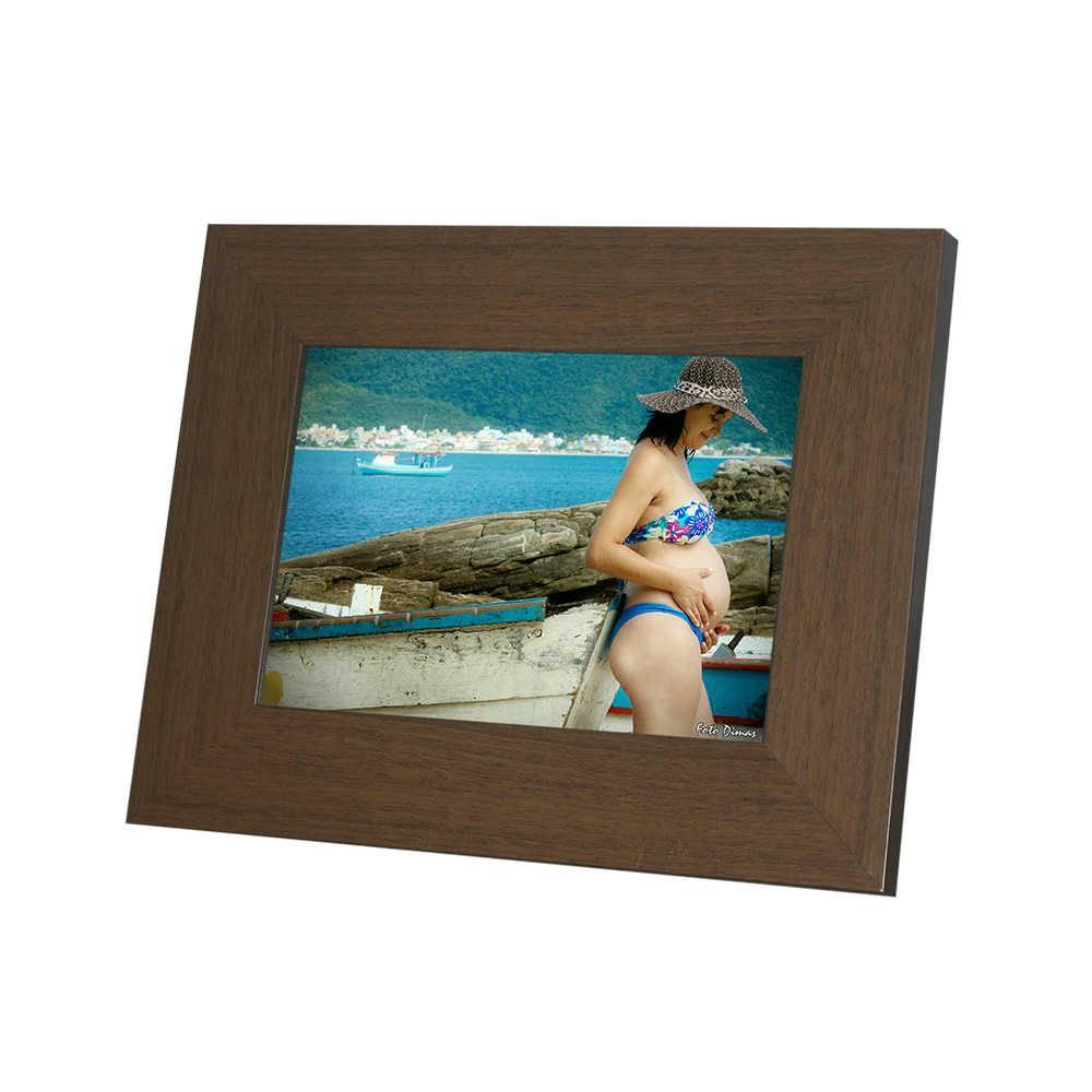 Porta-Retrato Rustic Marrom - 13x18 - em Madeira - 22x17,5 cm