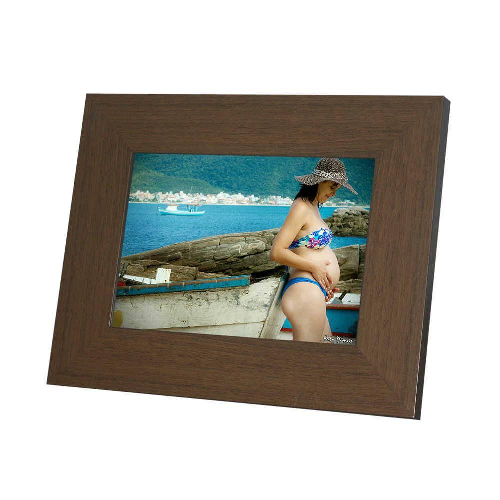 Porta-Retrato Rustic Marrom - 15x21 - em Madeira - 25x19,5 cm