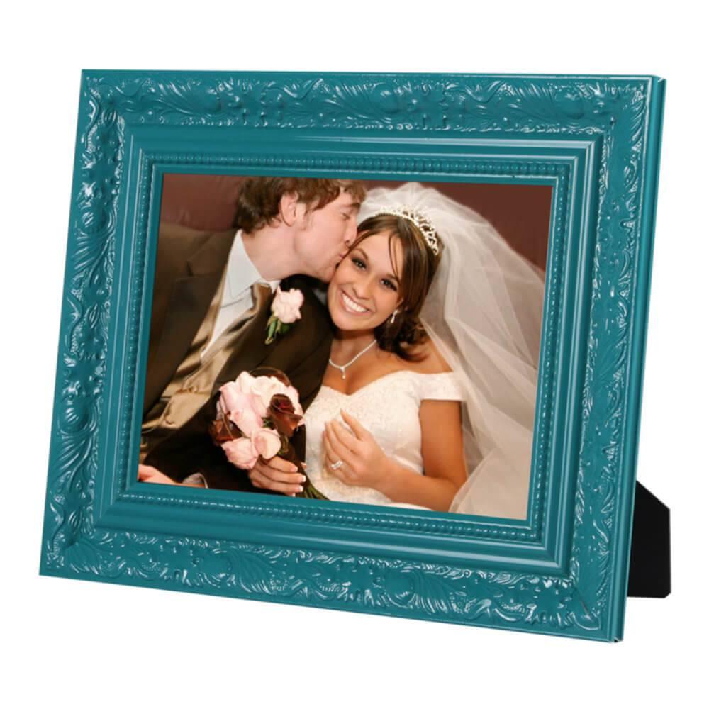 Porta-Retrato Verde - 10x15 cm - com Moldura Trabalhada em Madeira - 20x27 cm