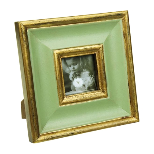 Porta-Retrato Verde/Dourado em Resina - 19x19 cm