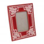 Porta-Retrato Vermelho Geométrico em Cerâmica - 25x20 cm