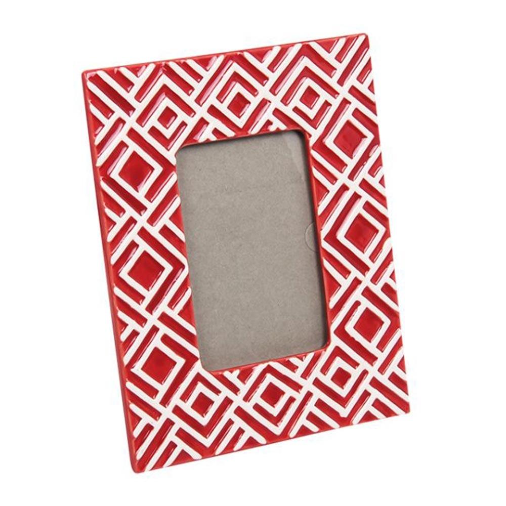 Porta-Retrato Vermelho Geométrico Quadriculado em Cerâmica - 25x20 cm