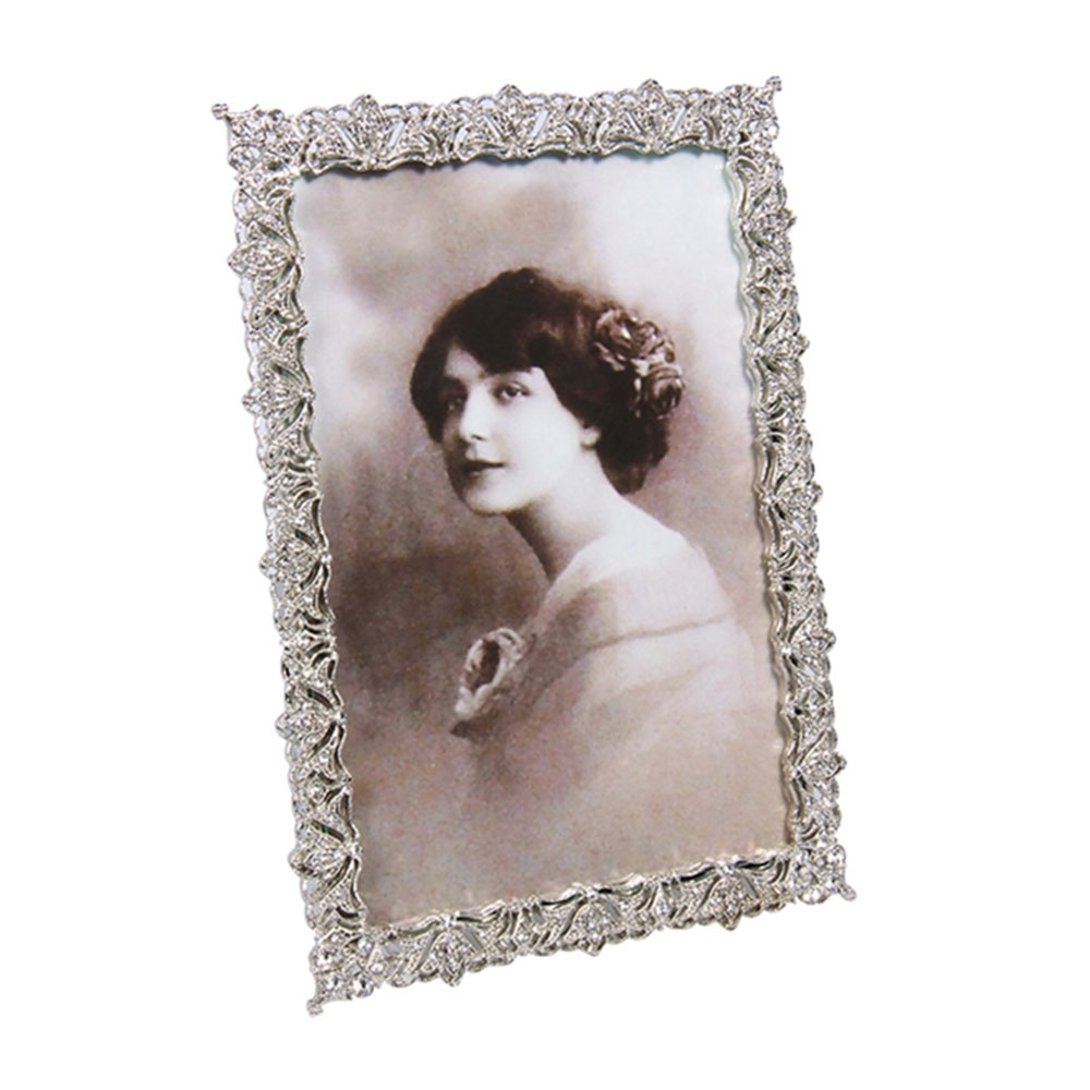 Porta-Retrato Wedding Prata com Pedrarias em Metal - 20x14 cm