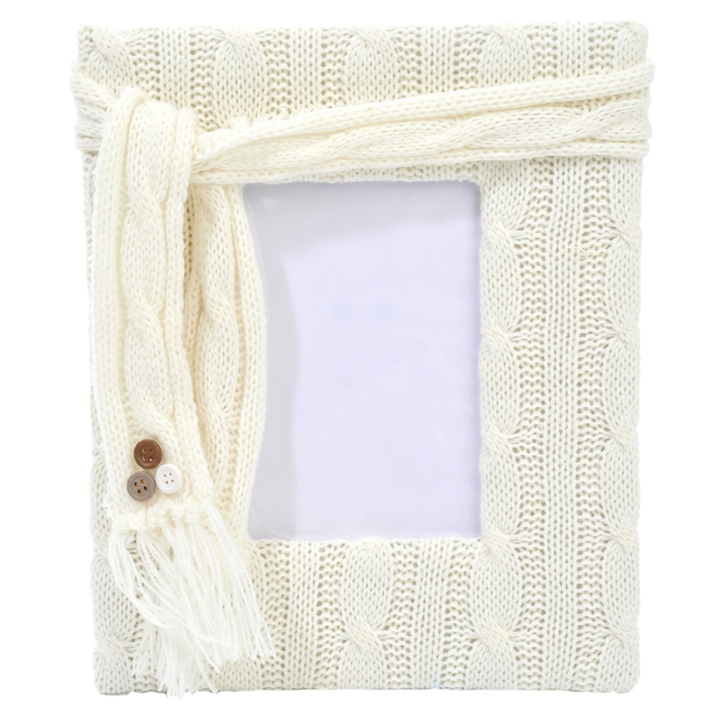 Porta-Retrato Wool Grande Branco - Foto 10x15 cm - em Tecido - 27,5x22,5 cm