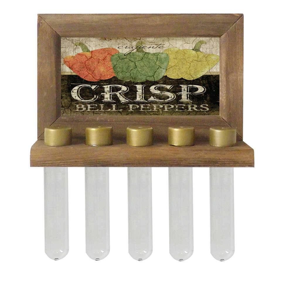Porta-Temperos de Parede Crisp Bell Pepers em Madeira - 24,5x16,5 cm