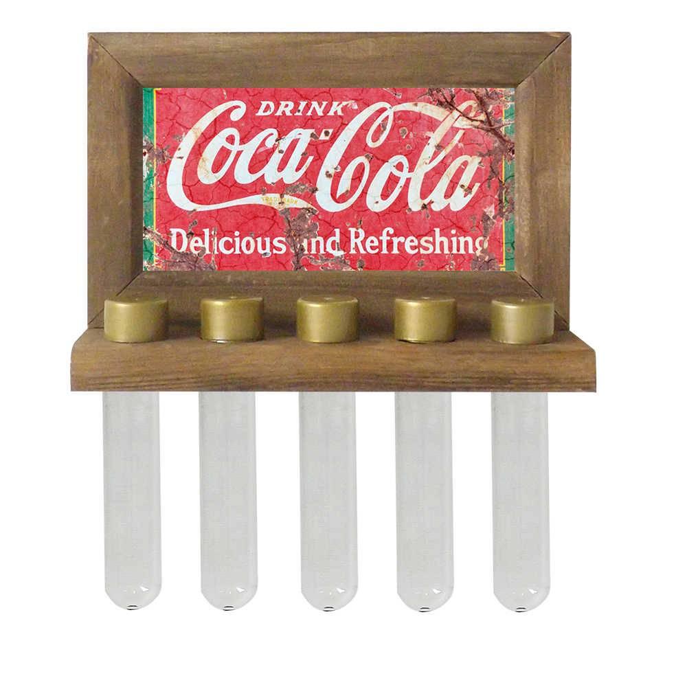 Porta-Temperos de Parede Drink Coca-Cola em Madeira - 24,5x16,5 cm