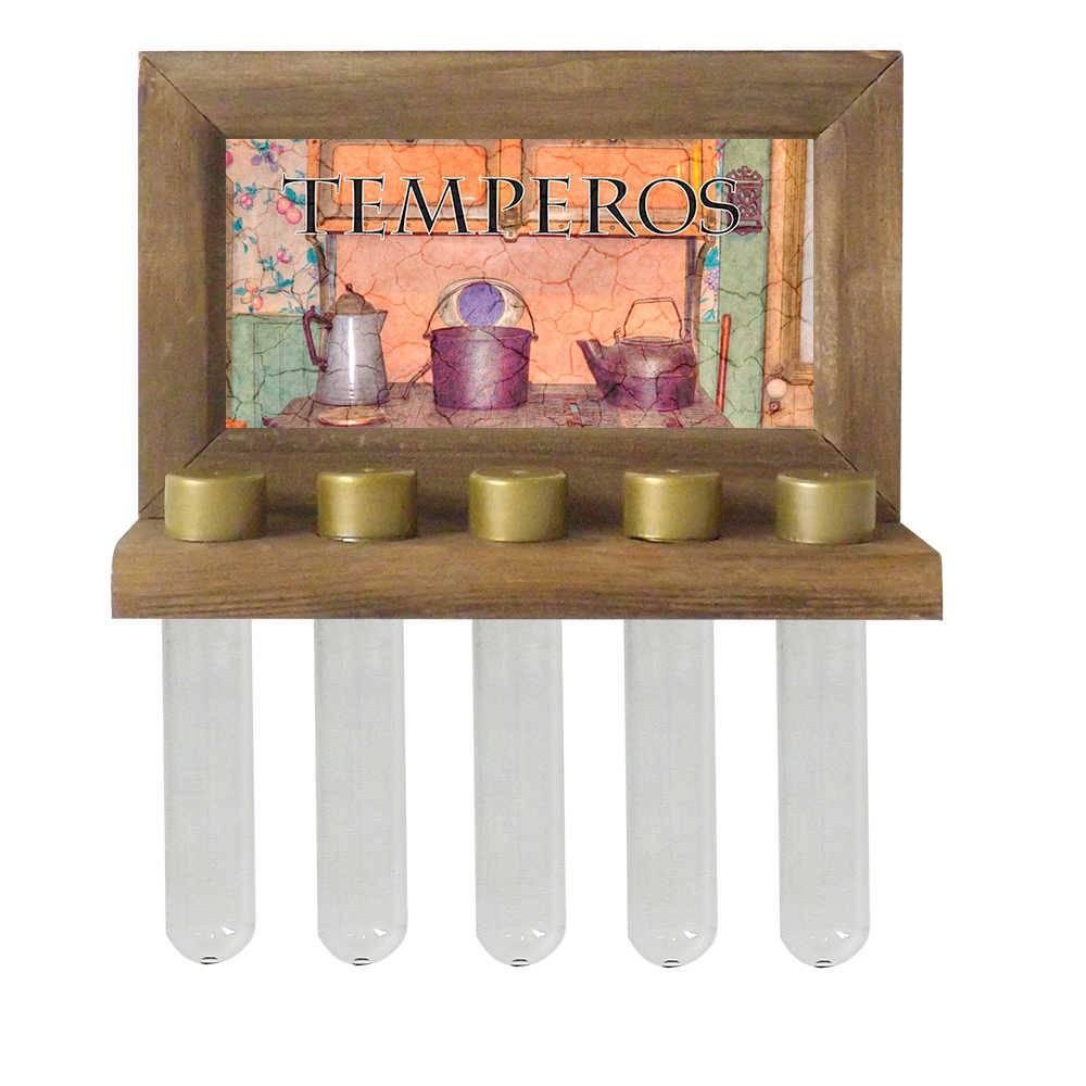 Porta-Temperos de Parede Fogão a Lenha com Letras Pretas em Madeira - 24,5x16,5 cm