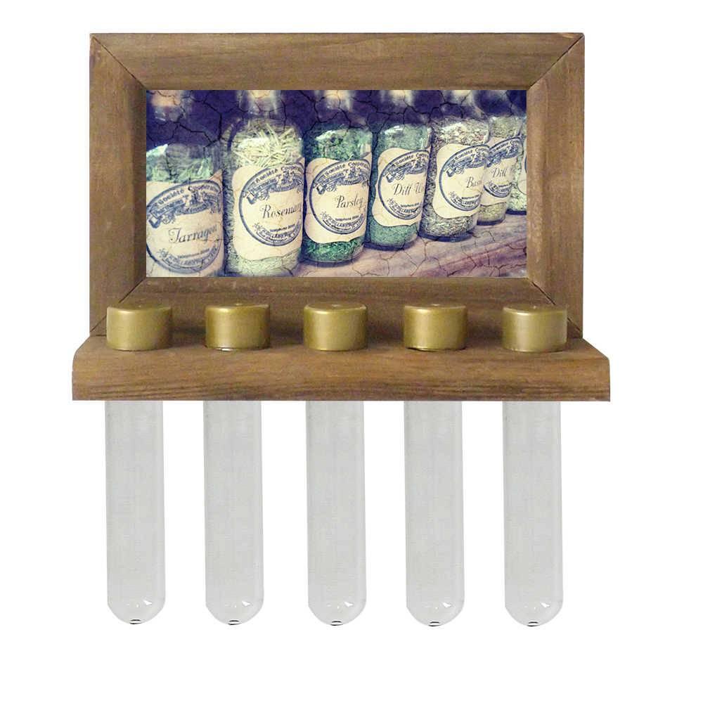 Porta-Temperos de Parede Garrafas em Madeira - 24,5x16,5 cm
