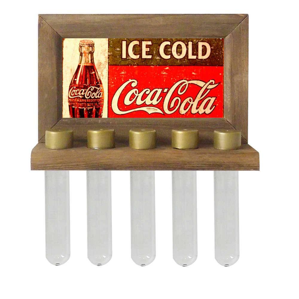 Porta-Temperos de Parede Ice Cold Coca-Cola em Madeira - 24,5x16,5 cm