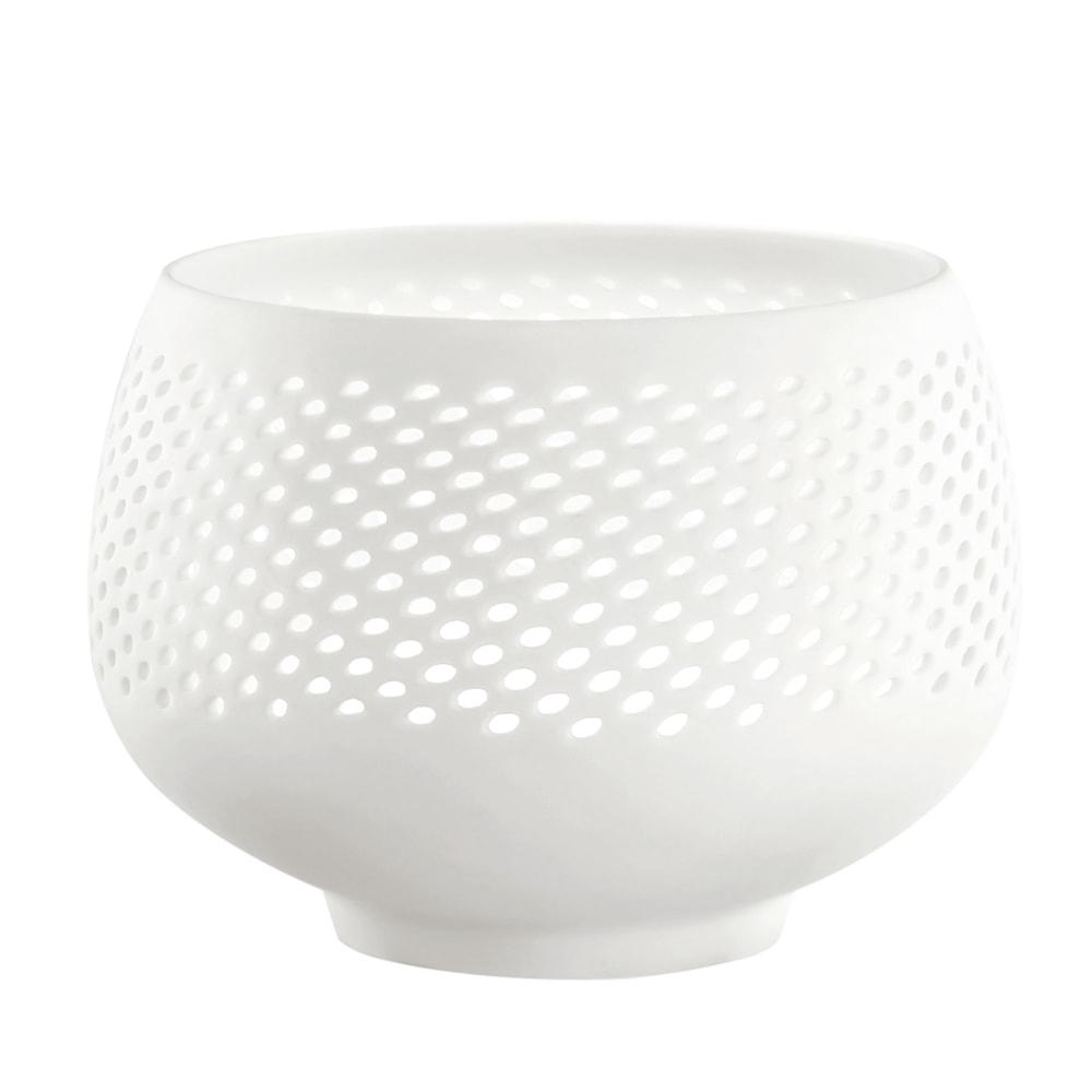 Porta-Vela Scopin Branco em Porcelana - 10x7 cm