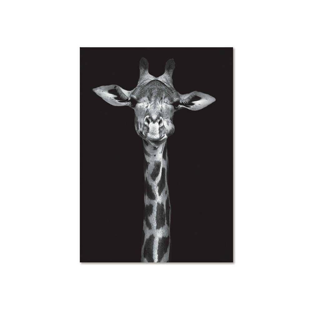 Pôster Emoldurado Dark Big Giraffe Preto em Madeira - Urban - 70x50 cm