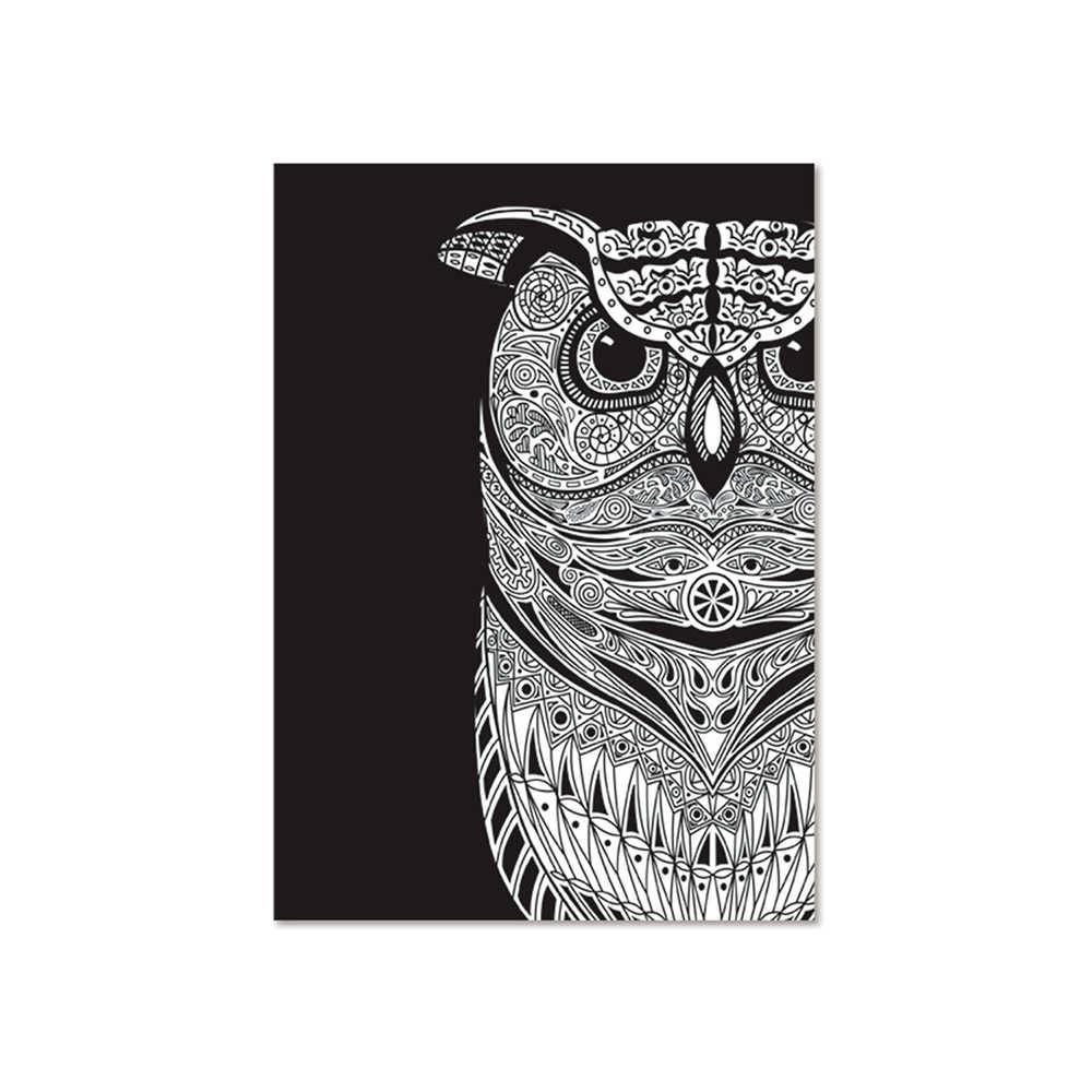 Pôster Emoldurado Dark Big Owl Fundo Preto em Madeira - Urban - 70x50 cm