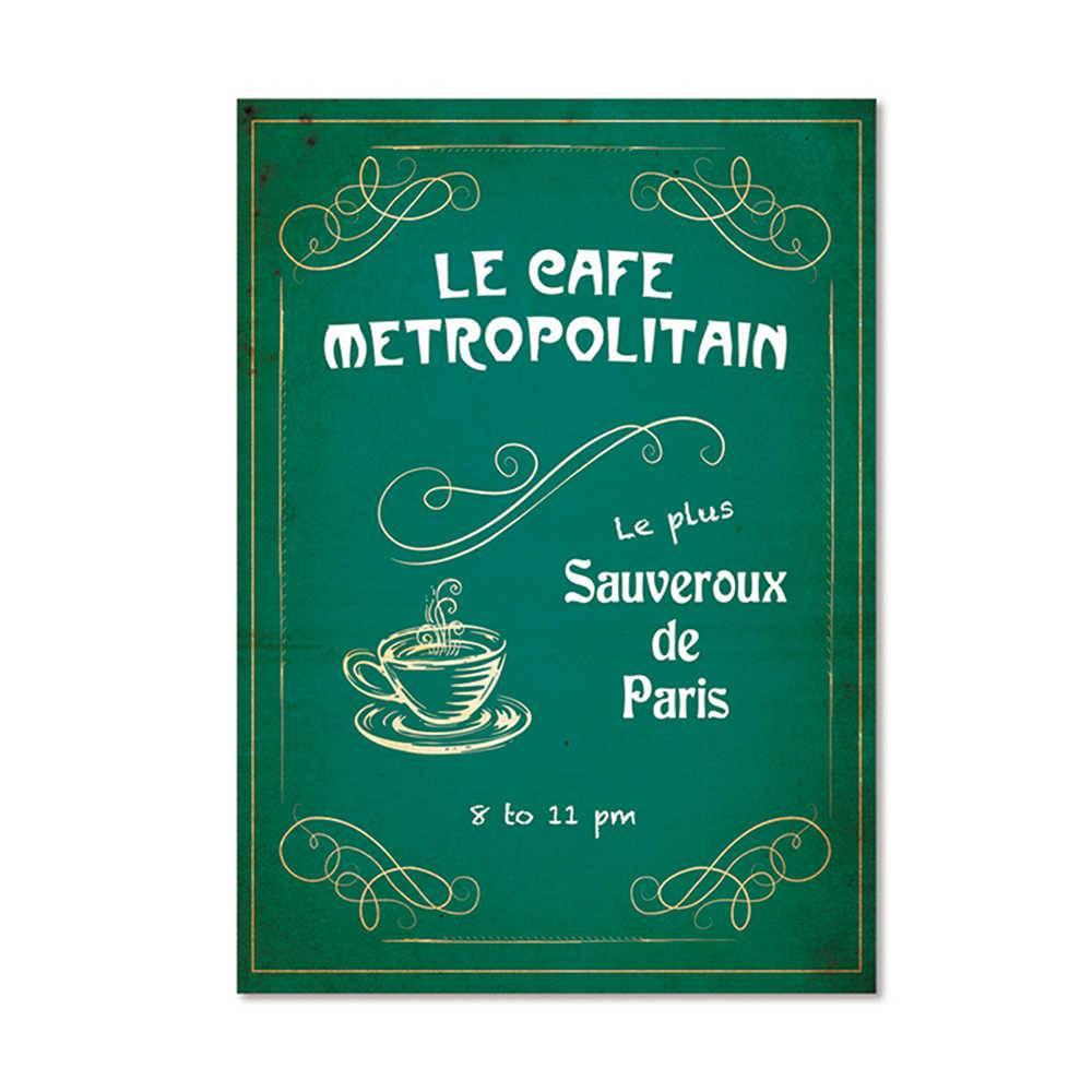 Pôster Emoldurado Le Jazz Le Cafe Metropolitain Fundo Verde em Madeira - Urban - 70x50 cm