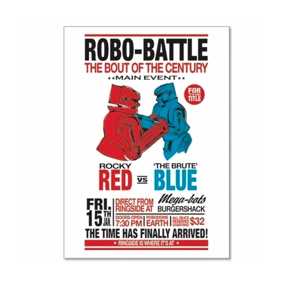 Pôster Emoldurado Loft Robo Battle Fundo Branco em Madeira - Urban - 70x50 cm