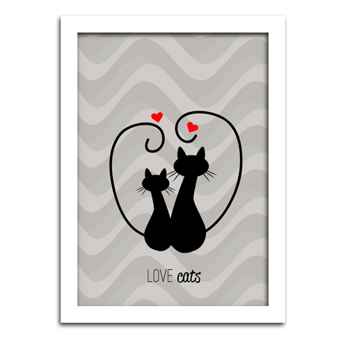 Pôster com Moldura Branca Love Cats Médio - 42x30 cm