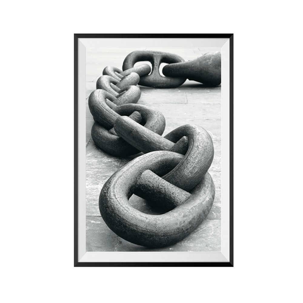 Pôster com Moldura Dark Big Chain em Madeira - Urban - 60x40 cm