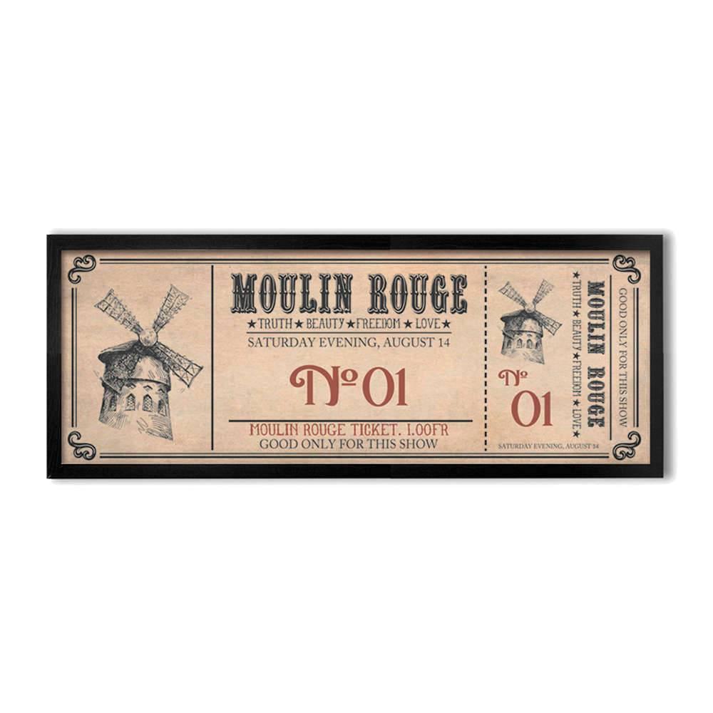 Pôster com Moldura Le Jazz Moulin Rouge em Madeira - Urban - 60x25 cm