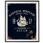 Pôster com Moldura Loft Pacif Ocean em Madeira - Urban - 50x40 cm