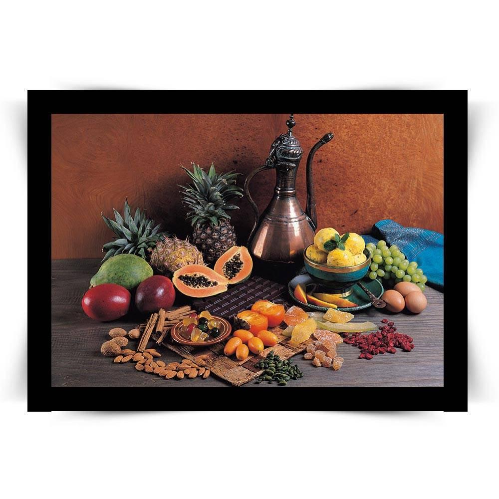 Pôster com Moldura Preta Frutas Médio - 45x33 cm