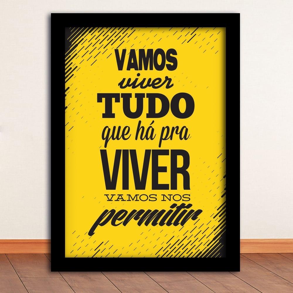 Pôster Tempos Modernos Amarelo e Preto - Moldura Preta - em Madeira - 45x33 cm
