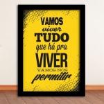 Pôster Tempos Modernos Amarelo e Preto em Madeira - 45x33 cm
