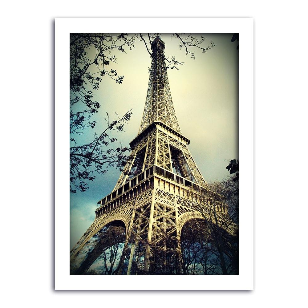 Pôster Torre Eiffel em Meio a Vegetação - Moldura Branca - em Madeira - 60x43 cm