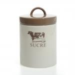 Pote para Açúcar Vaquinha Bege em Cerâmica - 15x10 cm