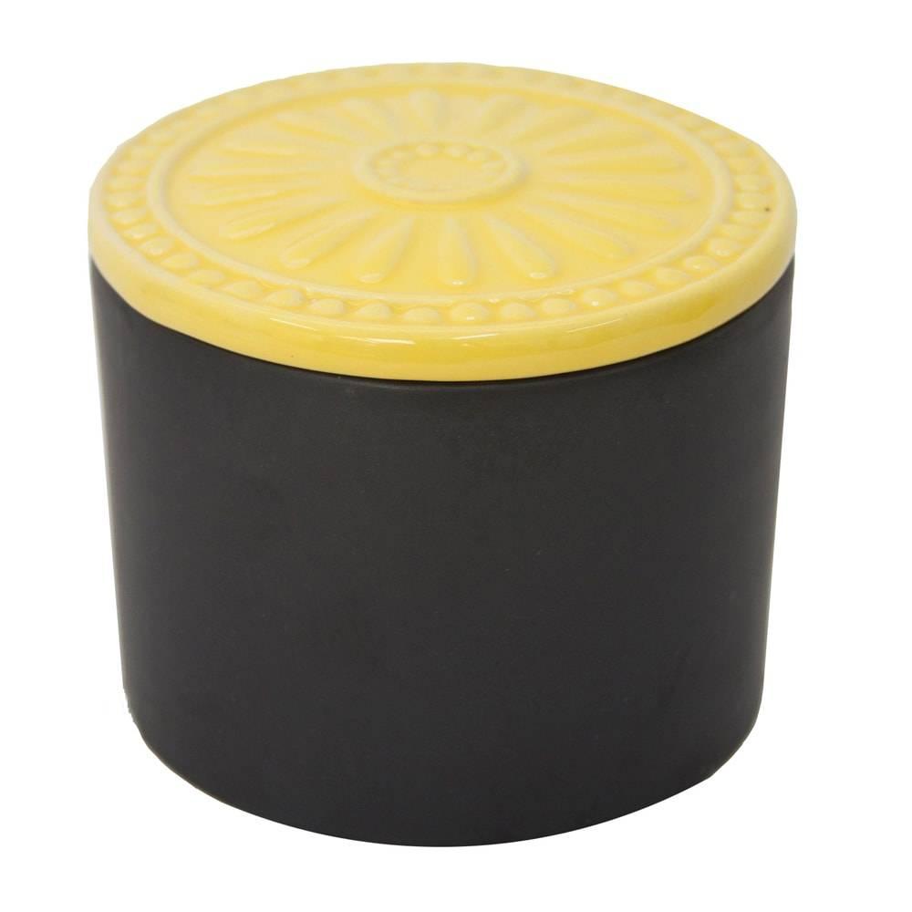 Pote Analice Preto/Amarelo Pequeno em Cerâmica - 11x9 cm