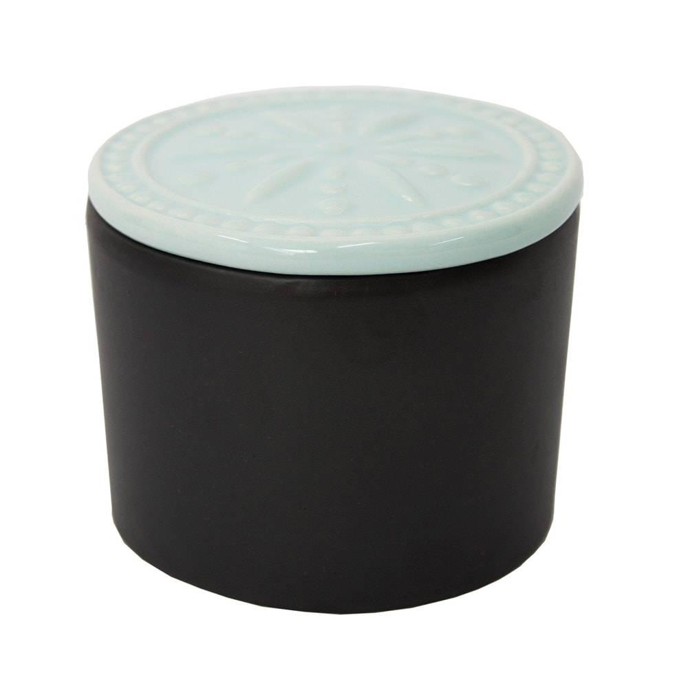 Pote Analice Preto/Azul Pequeno em Cerâmica - 11x9 cm