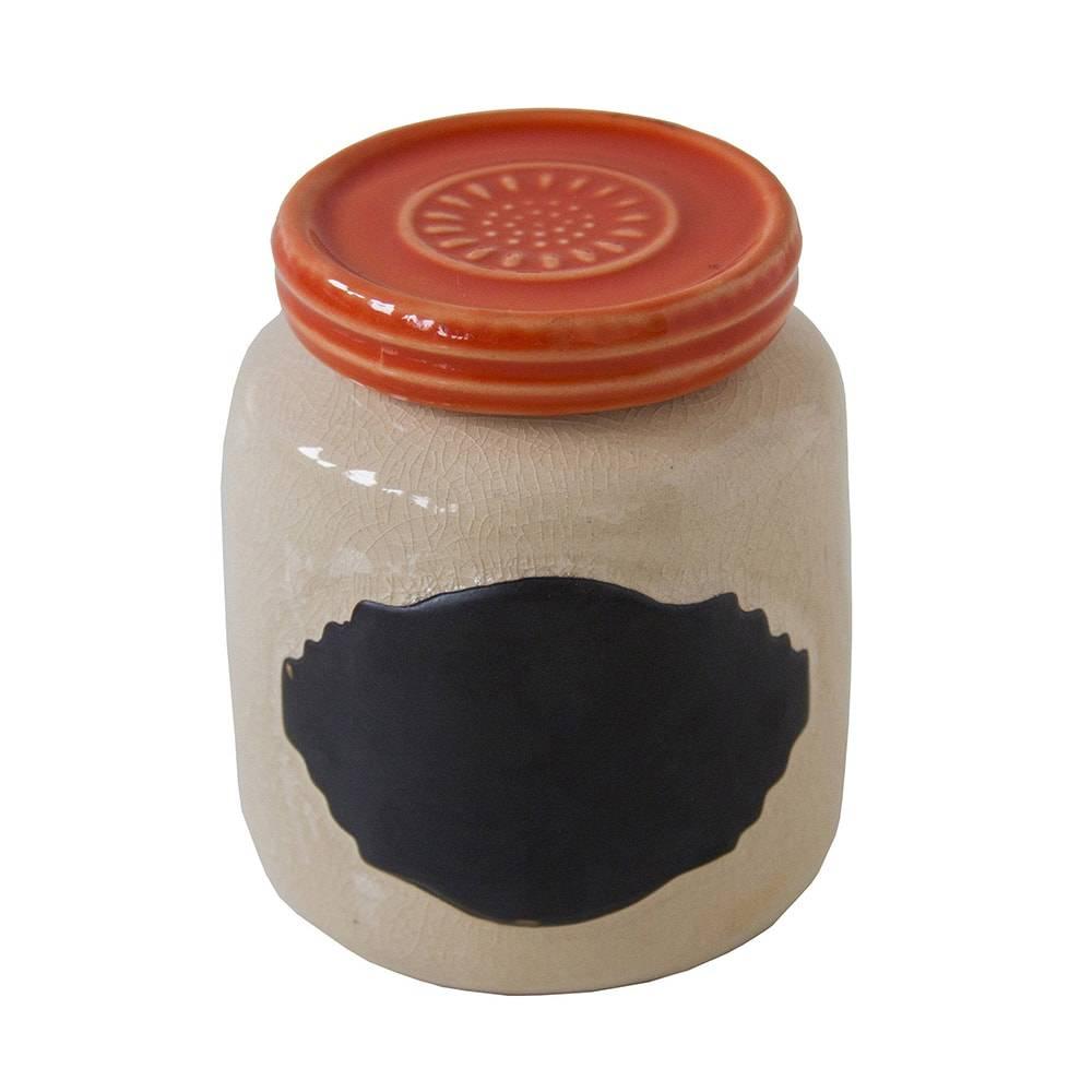 Pote Anelize Branco/Laranja Pequeno  em Cerâmica - 11x8 cm