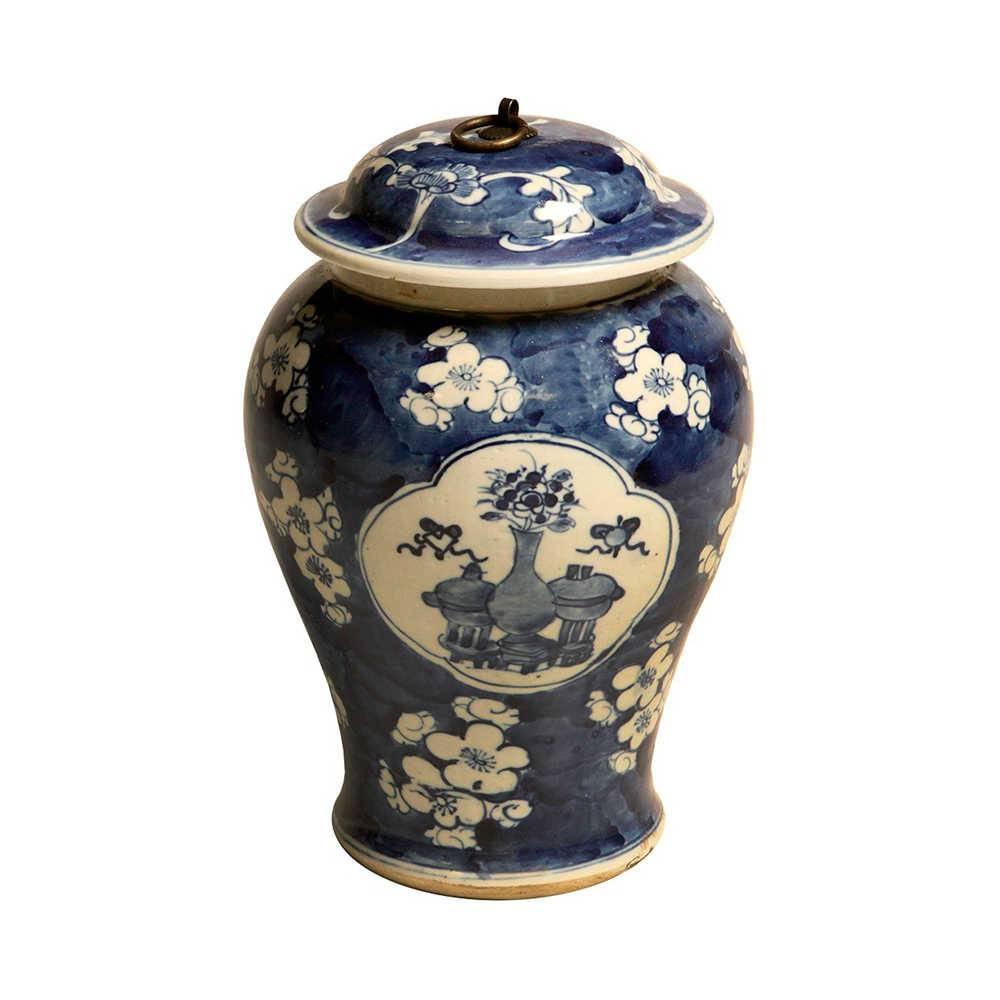 Pote Azul com Estampa Floral Clássica em Porcelana - 29x21 cm
