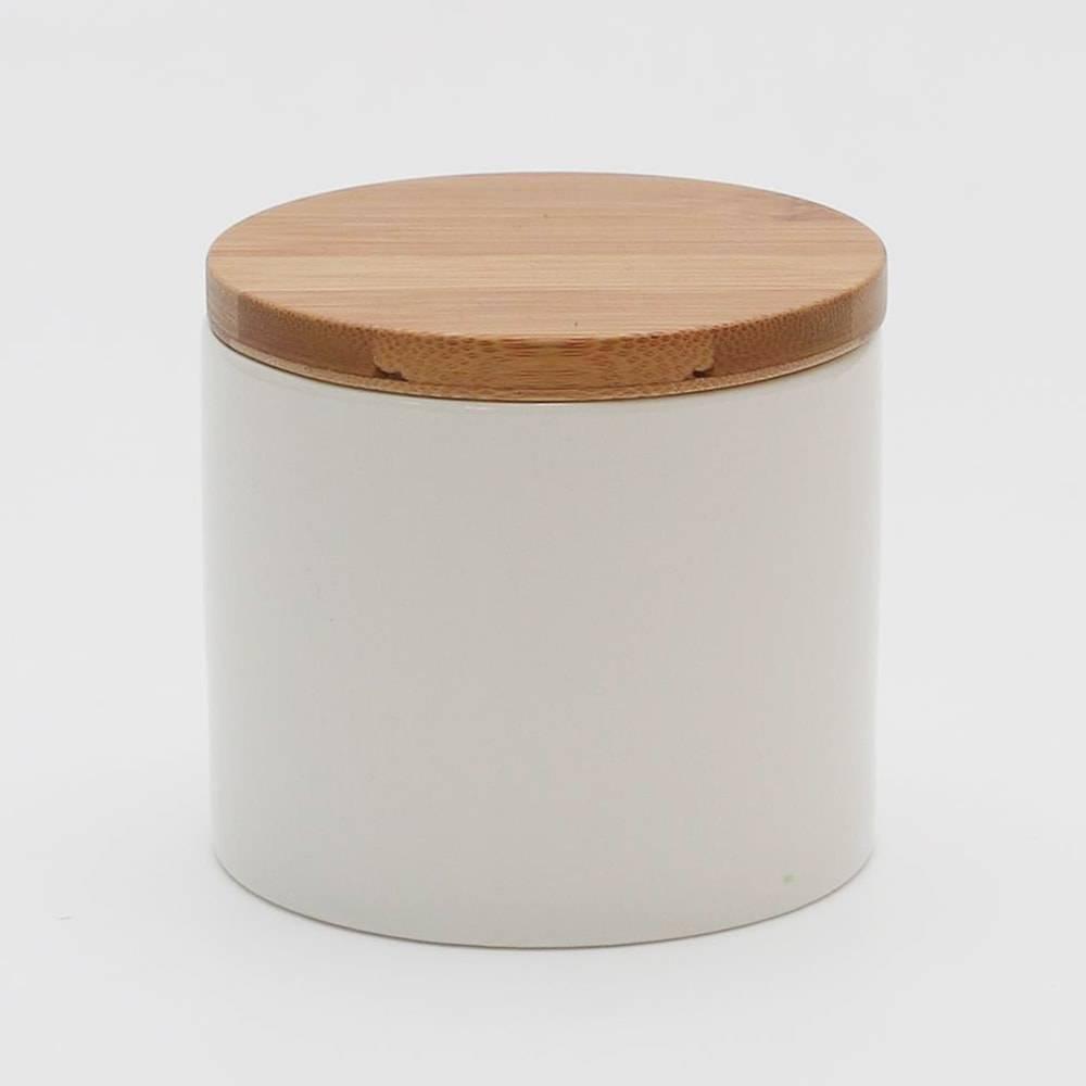 Pote Bamboo Branco 450 ml - com Tampa - em Porcelana - Bon Gourmet - 10x9,5 cm
