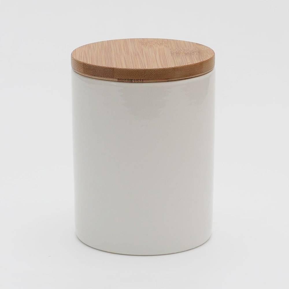 Pote Bamboo Branco com Tampa - 700 ml - em Porcelana - Bon Gourmet - 12x10 cm