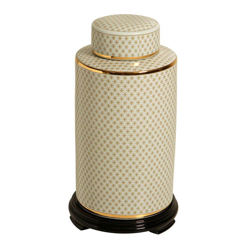 Pote Bege com Detalhes Dourados em Porcelana com Base em Madeira - 57x29 cm