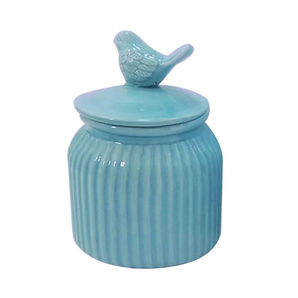 Pote Bird Lid Azul Grande em Cerâmica - Urban - 21x14 cm