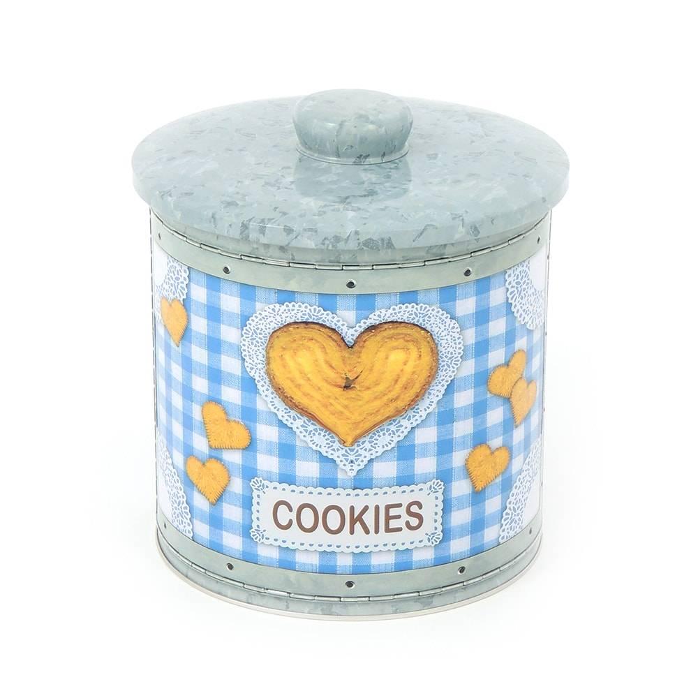 Pote para Biscoito Hermético Love Cookies Azul em Metal - 17x15,5 cm