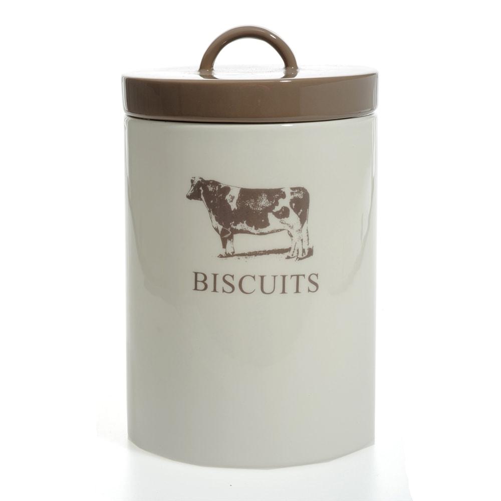 Pote para Biscoito Vaquinha Bege/Marrom em Cerâmica - 21x13 cm