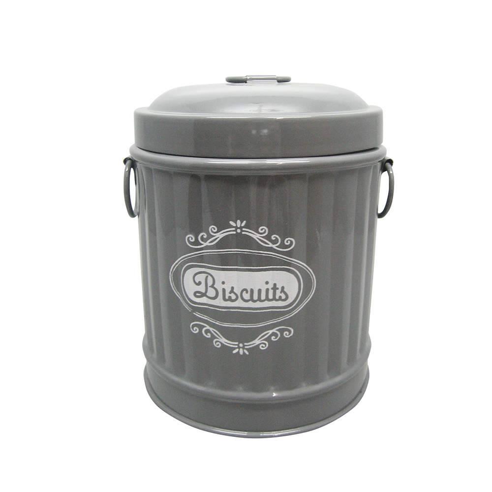 Pote para Biscoitos Garbage Bin Shape Cinza em Metal - Urban - 16x13,5 cm