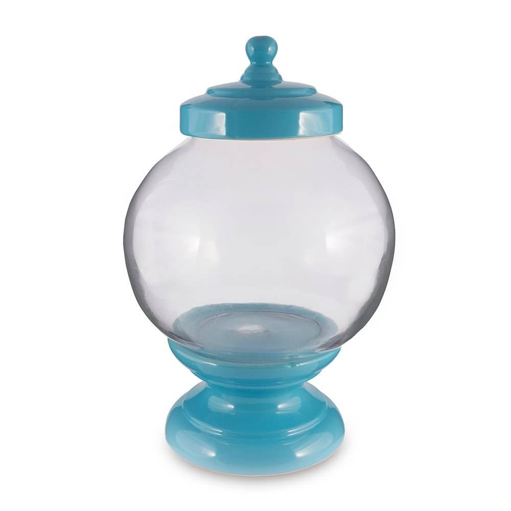 Pote Bojudo Azul em Vidro - 40x24 cm