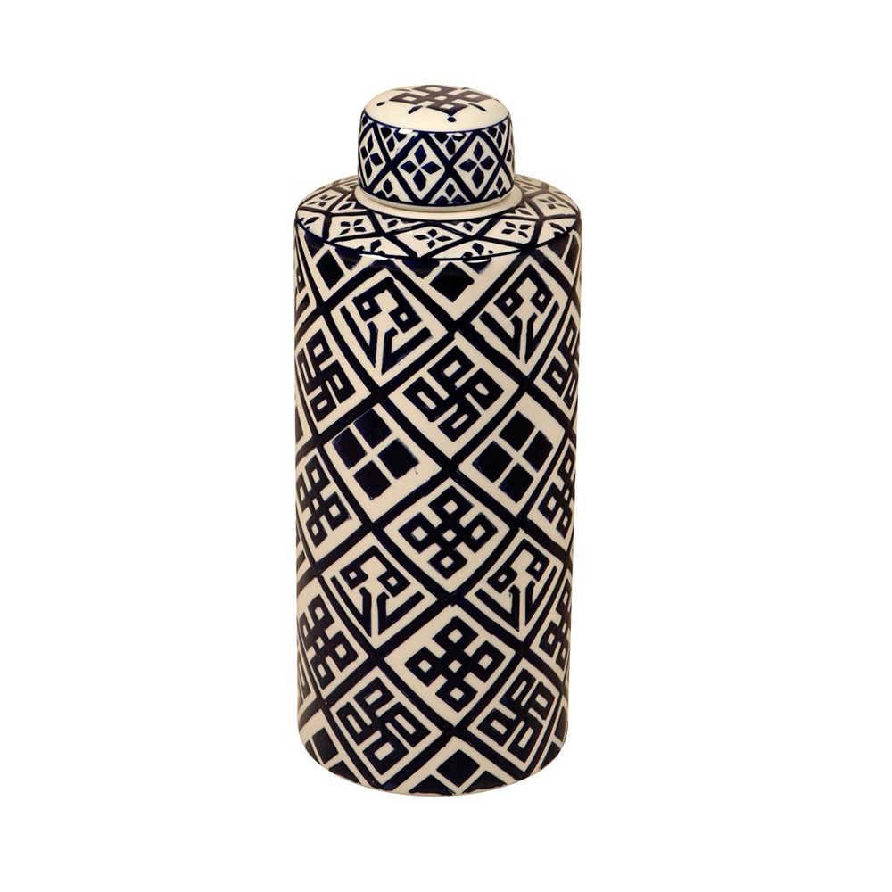 Pote Branco com Estampa Azul Escuro Oriental Grande em Porcelana - 47x18 cm