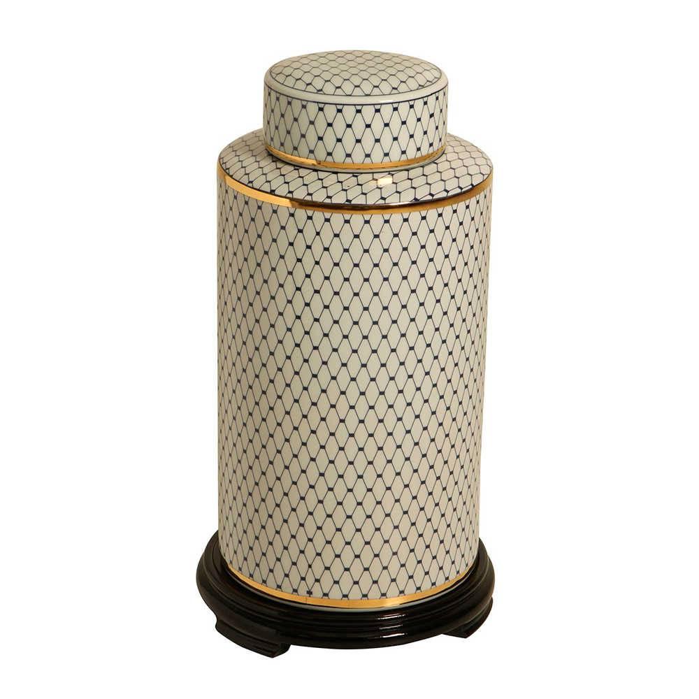Pote Branco com Estampa Preta em Porcelana com Base em Madeira - 57x29 cm
