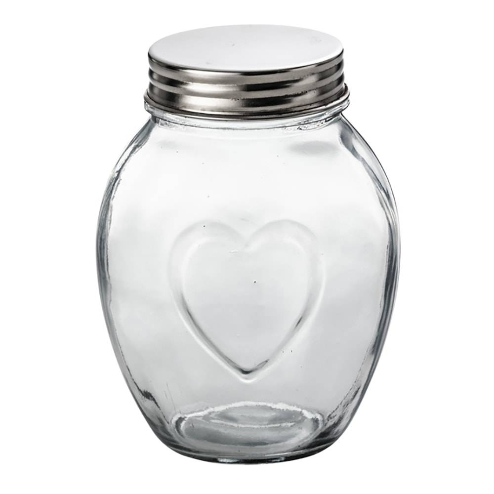 Pote c/ Detalhe de Coração em Vidro e Tampa em Alumínio - 1,6 Litros - Lyor Classic - 17x10,5 cm
