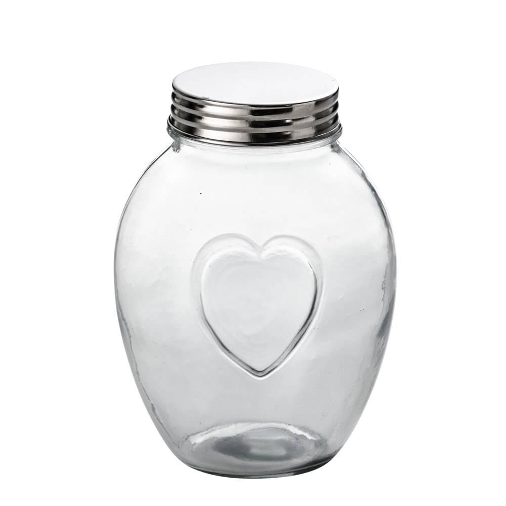 Pote c/ Detalhe de Coração em Vidro e Tampa em Alumínio - 1,9 Litros - Lyor Classic - 20x10,5 cm