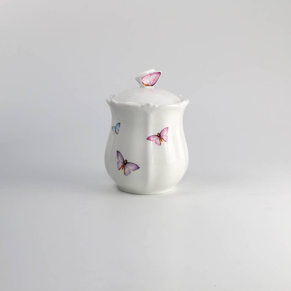 Pote com Tampa Borboletas - 1100 ml - em Porcelana - Wolff - 18x13 cm