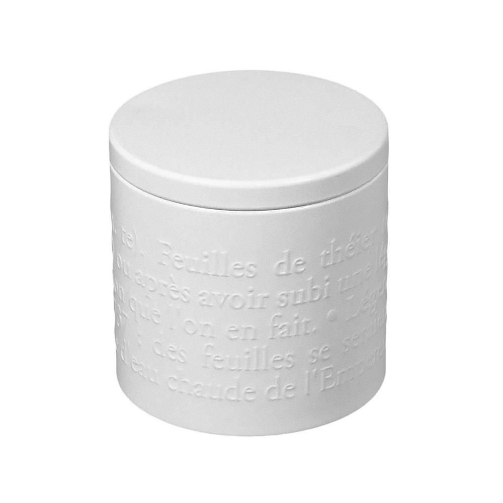 Pote para Chá France Branco Pequeno em Metal - 9,5x9,5 cm