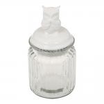 Pote Coruja Muda Branco Tampa em Cerâmica Estrutura em Vidro - 14x8 cm