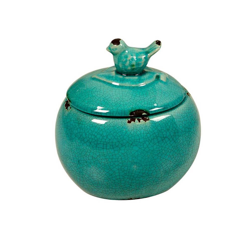 Pote Decorativo Azul Craquelado com Pássaro na Tampa em Cerâmica - Grande - 22x20 cm